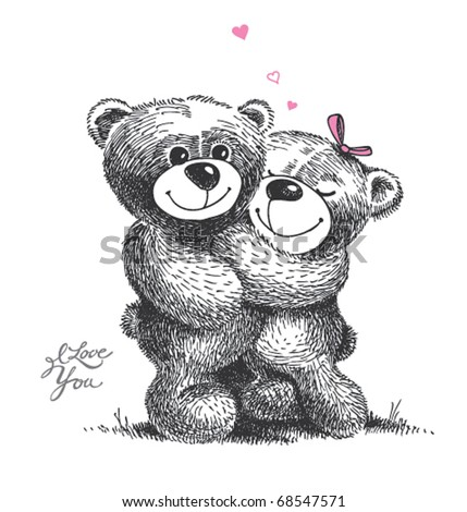 Couple of hugging teddy bears with small hearts. Hand drawn illustration, vector. - stock vector