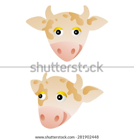 couple of isolated cute cow portraits - stock vector