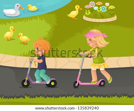 Couple of kids riding push scooters in the park. - stock vector