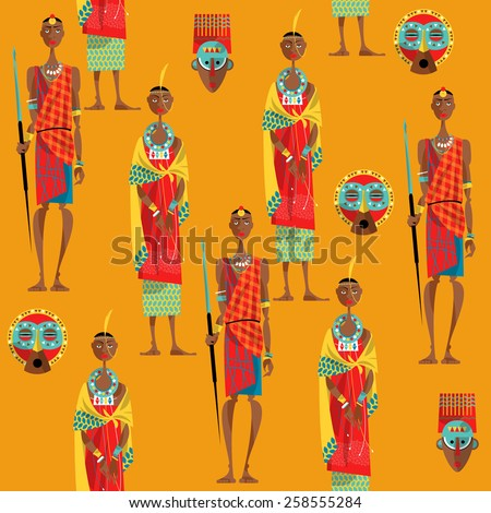 Couple of maasai in traditional dress. Seamless background pattern. Vector illustration - stock vector