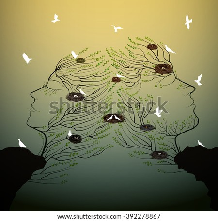 couple of people look like tree branches silhouettes with bird nest growing on the rock, family and ralationships concept, vector