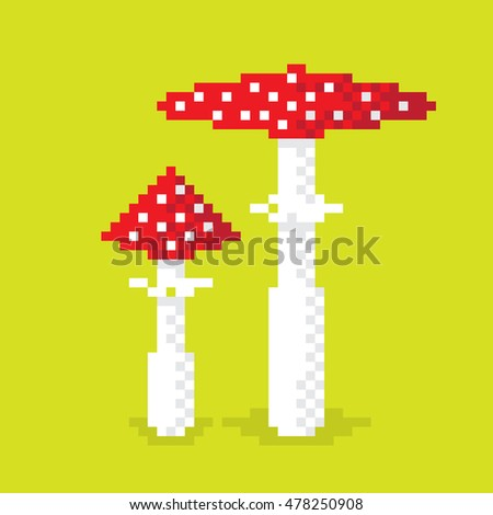 Couple of pixel poisonous mushroom, illustration, pixel art design. Editable vector