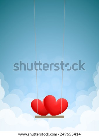 Couple of red hearts on swing in the daytime sky with clouds - stock vector