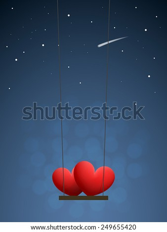 Couple of red hearts on swing in the night sky with stars - stock vector
