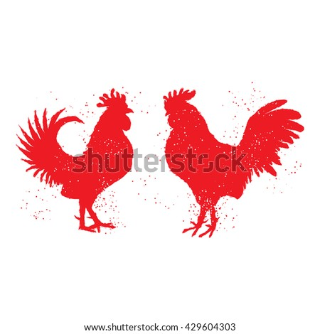 Couple of red roosters are looking