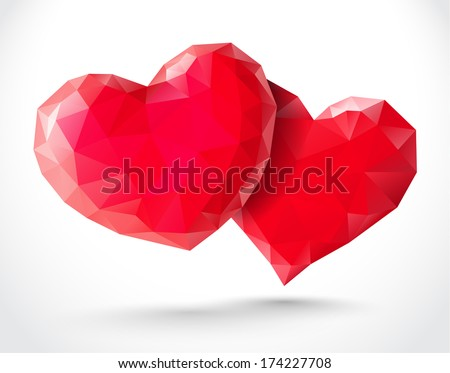Couple of shiny hearts for Valentines Day - stock vector