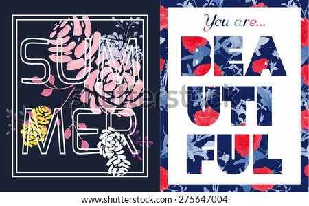 Couple of summer graphic print with flowers for t-shirt or other uses. Vector illustration.  - stock vector