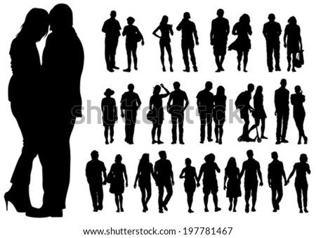 Couple of young guy and girl on white background