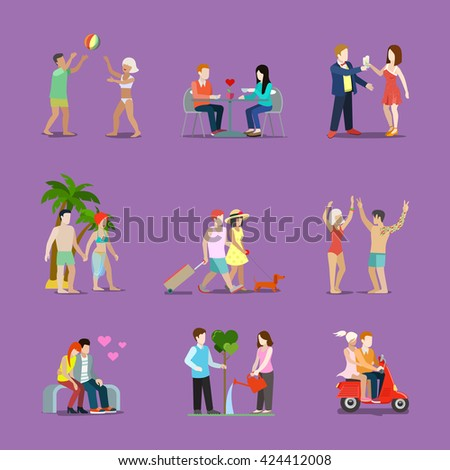 Couple of young man and woman life style set. Man woman have fun interesting holidays illustration. Travelling tourism vacation dinner dancing love celebration collection on purple background. - stock vector