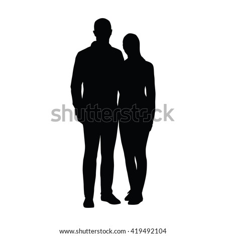 Couple of young people standing side by side. Two lovers embracing. Vector silhouette of boyfriend of girlfriend - stock vector
