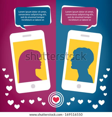 Couple of young people virtual love talking using mobile phone messages sms mms vector illustration - stock vector