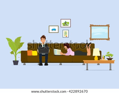 couple of young people working on a laptop while sitting and lying on the sofa in the living room. vector. a man and a woman are working on the internet from home. - stock vector
