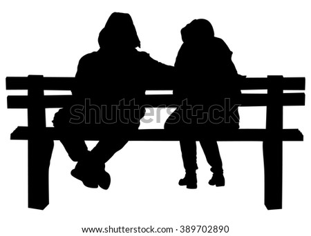 Couple on a bench - Two lovers sitting on a bench in a park and holding themselves by hands - Concepts of autumn,love,togetherness,relationship. Romantic Couple on a Bench. - stock vector