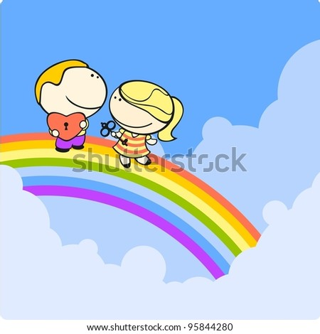 Couple on a rainbow