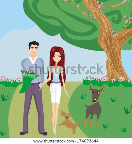 couple on a walk with the dogs  - stock vector