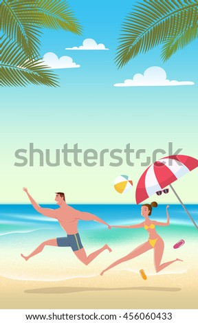 Couple on beach vacation. Vector Illustration of summer time wallpaper or fun summer party, and travel for poster, web design, event.