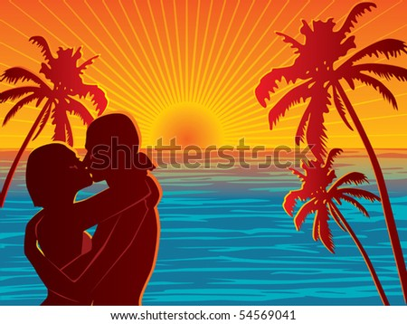 Couple on beach vector - stock vector