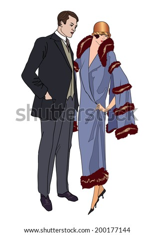 Couple on party. Man and woman in vintage style 1920's. Portrait of an attractive flapper girl with her boyfriend. Retro fashion vector illustration isolated on white background.  - stock vector