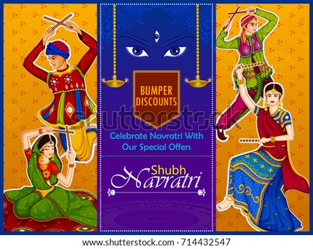 Couple performing dandiya and dancing garba sale and promotion advertisement background in vector