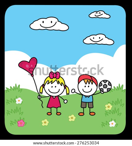 Couple play at park - stock vector