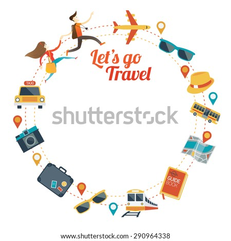 Couple run with Travel Objects Icons Round Frame, Tourist, Sightseeing, Journey, Inspiration and Concept - stock vector