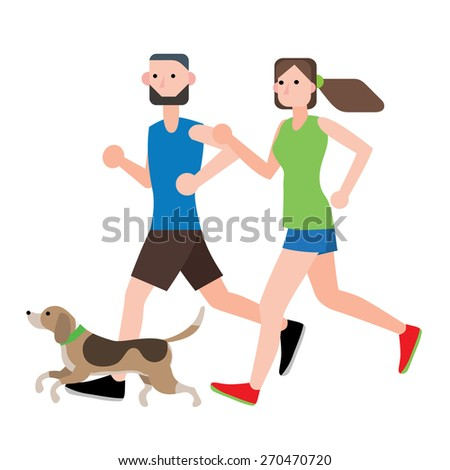 couple running workout with their dog ,vector illustration isolate on white background - stock vector