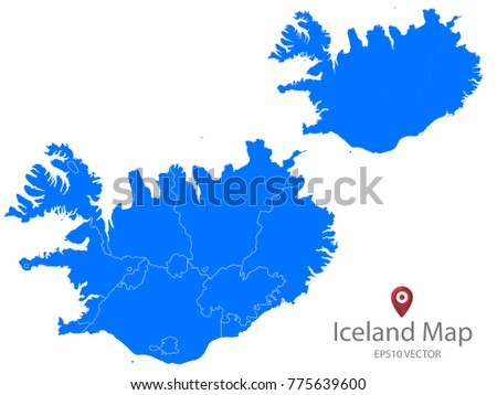 Couple Set Map Blue Map Iceland Vector EPS 10 Stock Vector (Royalty ...
