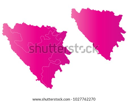 Couple Set Map,gradient Pink Map of Bosnia and Herzegovina,Vector EPS10