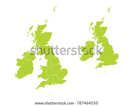 Couple Set Map,green Map of United Kingdom,Vector EPS10