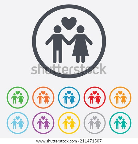 Couple sign icon. Male love female. Lovers with heart. Round circle buttons with frame. Vector