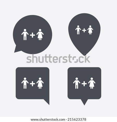 Couple sign icon. Male plus female. Lovers. Map pointers information buttons. Speech bubbles with icons. Vector