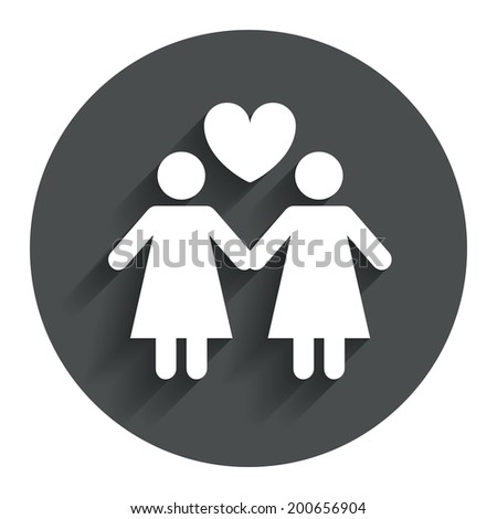 Couple sign icon. Woman love woman. Lesbians with heart. Circle flat button with shadow. Modern UI website navigation. Vector