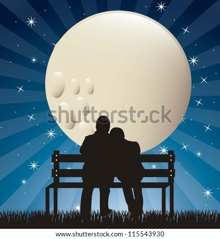 couple silhouette in the night with moon. vector illustration - stock vector
