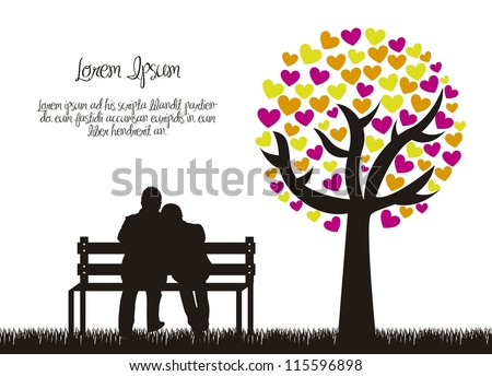 couple silhouette with love tree. vector illustration - stock vector