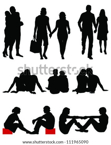 Couple silhouettes-vector - stock vector
