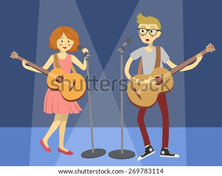 Couple Singer Guitarist in Blue Spotlight. Girl and boy singing and playing guitar together in blue spotlight background. - stock vector
