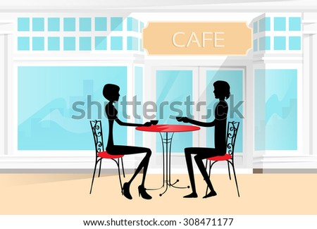Couple Sitting Cafe Table Drink Coffee Romantic Love Silhouettes Dating Vector Illustration