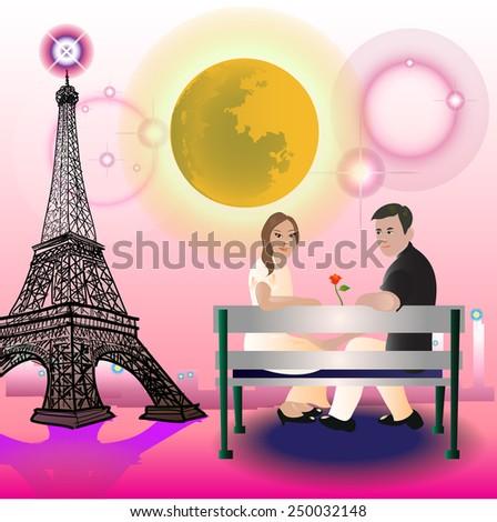 Couple Sitting in Paris. - stock vector