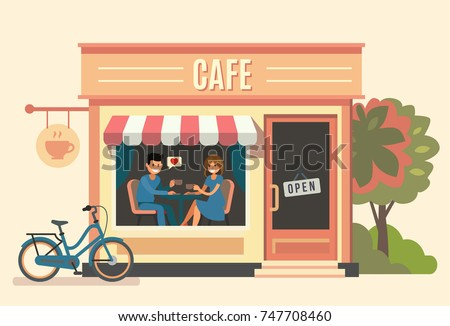Couple sitting in the cafe. Vector flat