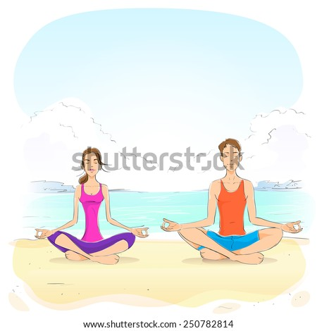 couple sitting in yoga lotus position man and woman closed eyes relaxing doing exercises vector illustration - stock vector