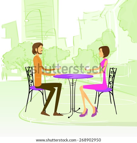Couple Sitting Street Cafe Outdoor at Table Drink Coffee Vector Illustration - stock vector