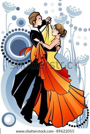 Couple sport dancing - stock vector