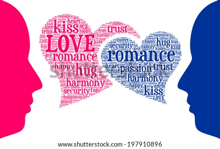 Couple Talking About Love Word Cloud Tag Concept In Vector