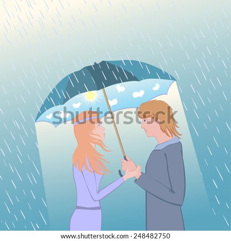 Couple under an umbrella. Woman and man looking at each other an enamored sight.  He looks at her.The in love girl and the guy.  - stock vector