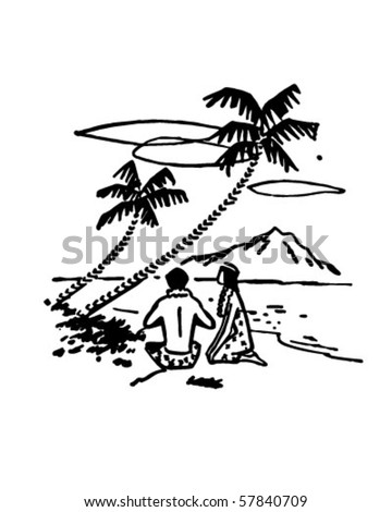 Couple Under Palm Trees - Tropical Beach Scene - stock vector