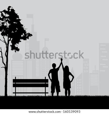 Couple under the tree in city park