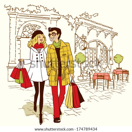 couple walking by cafe - stock vector