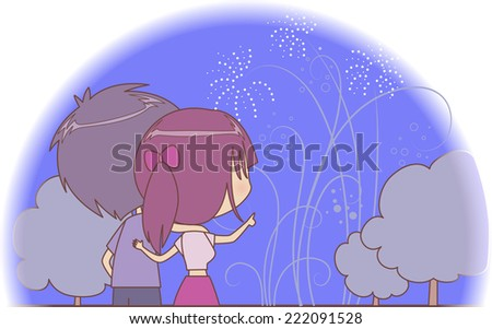 Couple watching fireworks on a holiday night - stock vector