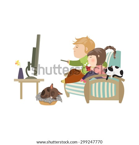 Couple watching television sitting on the couch. Vector isolated illustration - stock vector