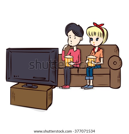 Couple Watching TV. Hand drawn cartoon vector illustration.